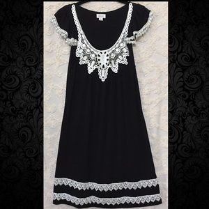 Gothic Black Dress with White Lace Crochet